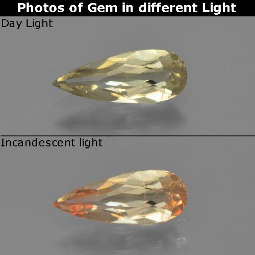 Green to Pink Color-Change Diaspore Gem - 0.7ct Pear Facet (ID: 454312)