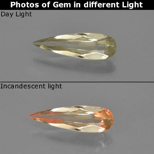 Green to Pink Color-Change Diaspore Gem - 0.8ct Pear Facet (ID: 454316)