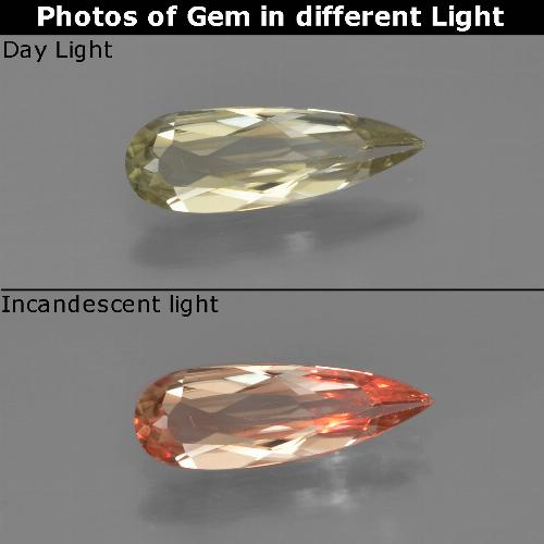 Very Light Yellow Color-Change Diaspore Gem - 1ct Pear Facet (ID: 454359)