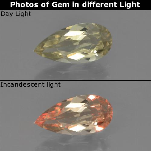 Green to Pink Color-Change Diaspore Gem - 1.1ct Pear Facet (ID: 454369)