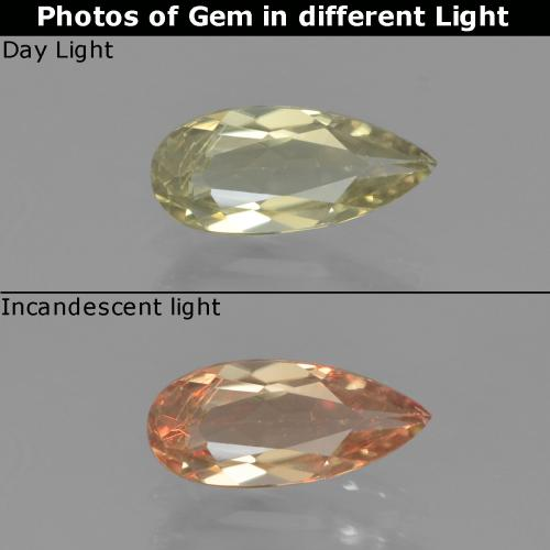 Green to Pink Color-Change Diaspore Gem - 0.8ct Pear Facet (ID: 454385)
