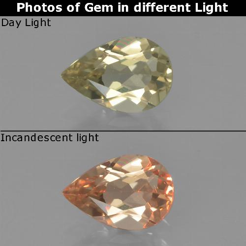Pale Yellow Color-Change Diaspore Gem - 0.8ct Pear Facet (ID: 454386)