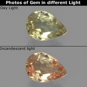 Green to Pink Color-Change Diaspore Gem - 0.8ct Pear Facet (ID: 454390)