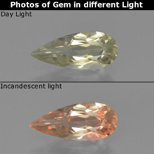 Light Yellow Color-Change Diaspore Gem - 0.8ct Pear Facet (ID: 454391)