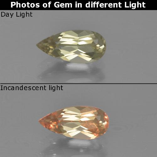 Green to Pink Color-Change Diaspore Gem - 0.9ct Pear Facet (ID: 454412)