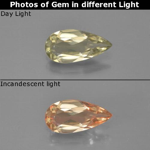 Green to Pink Color-Change Diaspore Gem - 0.9ct Pear Facet (ID: 454415)