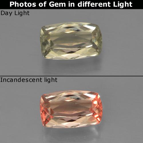 Green to Pink Color-Change Diaspore Gem - 1ct Cushion-Cut (ID: 454480)