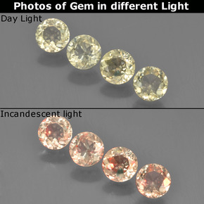 Very Light Yellow Color-Change Diaspore Gem - 0.5ct Round Facet (ID: 454509)