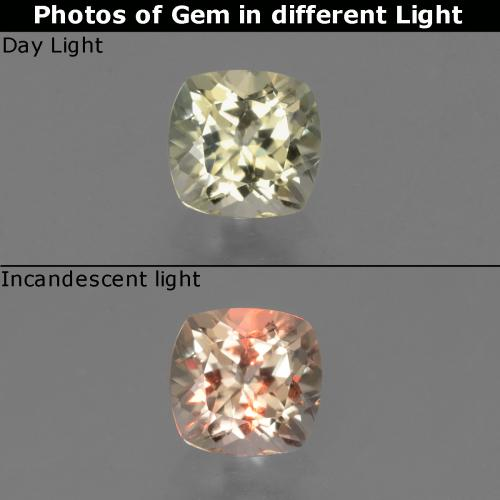 Green to Pink Color-Change Diaspore Gem - 0.8ct Cushion-Cut (ID: 454529)