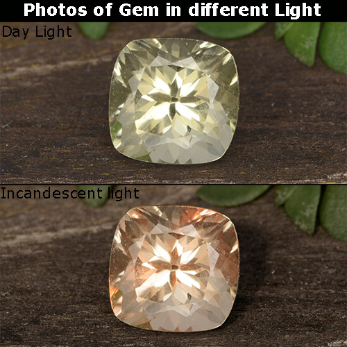 Green to Pink Color-Change Diaspore Gem - 0.8ct Cushion-Cut (ID: 454536)