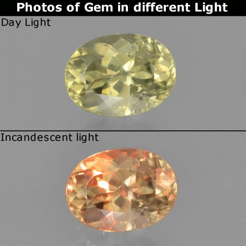 Green to Pink Color-Change Diaspore Gem - 1.2ct Oval Facet (ID: 454548)