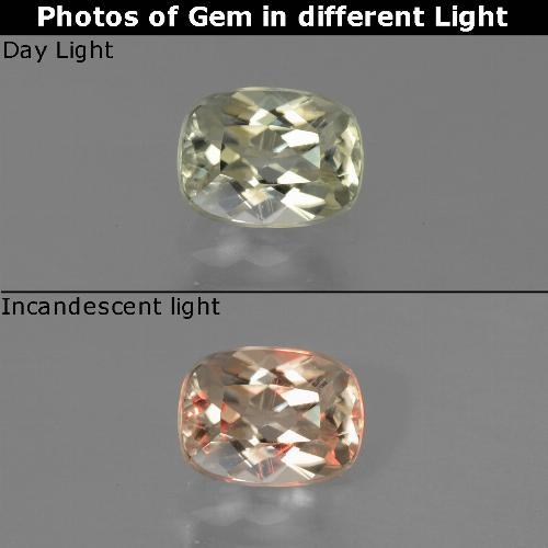 Green to Pink Color-Change Diaspore Gem - 0.8ct Cushion-Cut (ID: 454560)