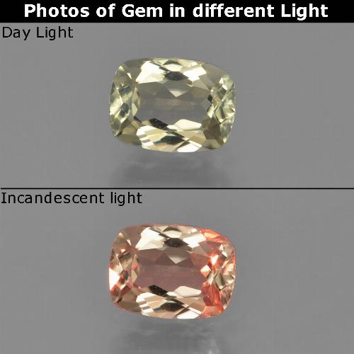 Green to Pink Color-Change Diaspore Gem - 0.9ct Cushion-Cut (ID: 454574)