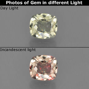 Green to Pink Color-Change Diaspore Gem - 0.5ct Cushion-Cut (ID: 454579)