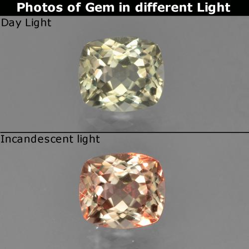 Green to Pink Color-Change Diaspore Gem - 0.8ct Cushion-Cut (ID: 454580)