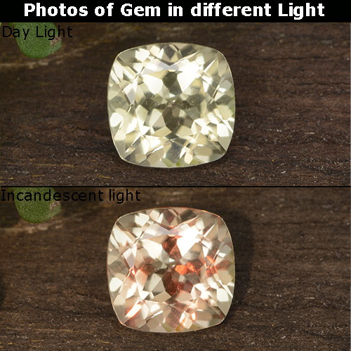 Green to Pink Color-Change Diaspore Gem - 0.7ct Cushion-Cut (ID: 454581)