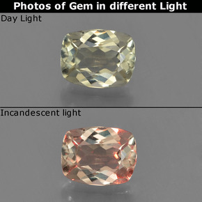 Green to Pink Color-Change Diaspore Gem - 0.7ct Cushion-Cut (ID: 454586)