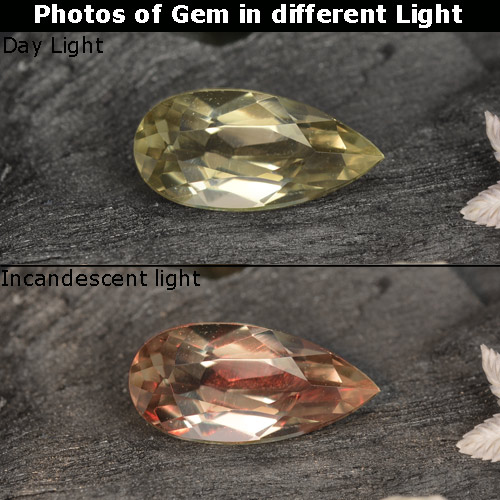 Green to Pink Color-Change Diaspore Gem - 0.8ct Pear Facet (ID: 468452)