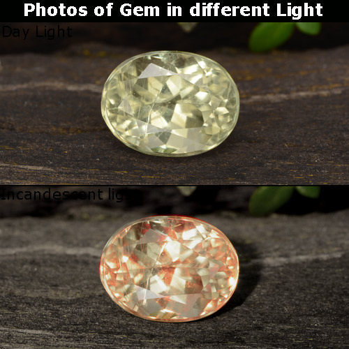 Green to Pink Color-Change Diaspore Gem - 0.9ct Oval Facet (ID: 478377)