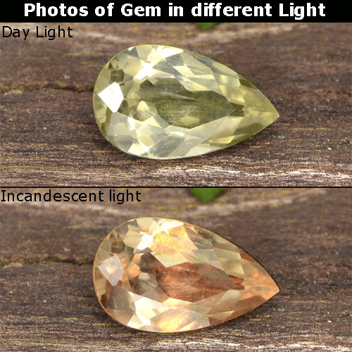 Green to Pink Color-Change Diaspore Gem - 0.8ct Pear Facet (ID: 478380)