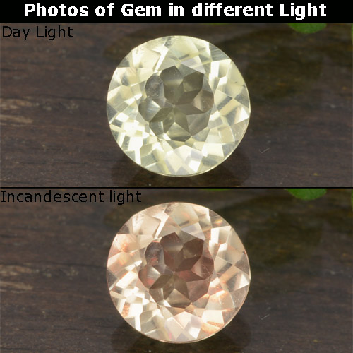 Green to Pink Color-Change Diaspore Gem - 0.6ct Round Facet (ID: 478419)