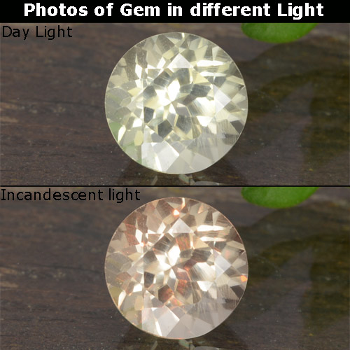 Green to Pink Color-Change Diaspore Gem - 0.6ct Round Facet (ID: 478420)