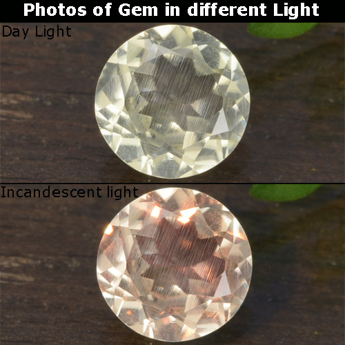 Green to Pink Color-Change Diaspore Gem - 0.7ct Round Facet (ID: 478421)