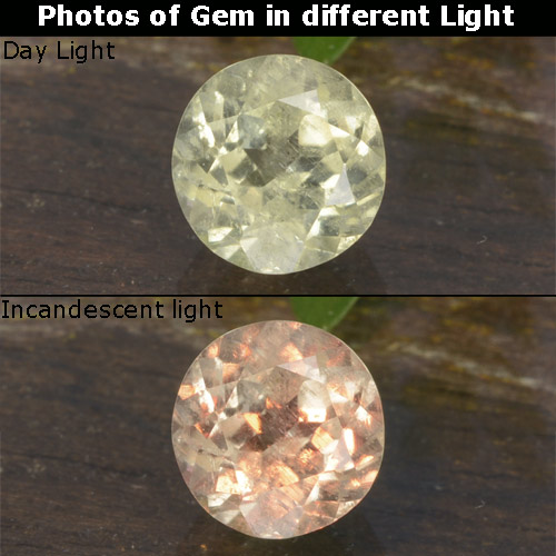 Green to Pink Color-Change Diaspore Gem - 0.7ct Round Facet (ID: 478425)