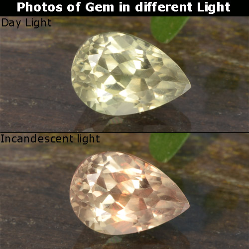 Green to Pink Color-Change Diaspore Gem - 0.7ct Pear Facet (ID: 478426)