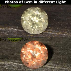 Very Light Yellow Color-Change Diaspore Gem - 0.6ct Round Facet (ID: 478534)
