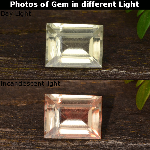 Champagne to Orange-Pink Color-Change Diaspore Gem - 0.5ct Baguette Step Cut (ID: 478538)