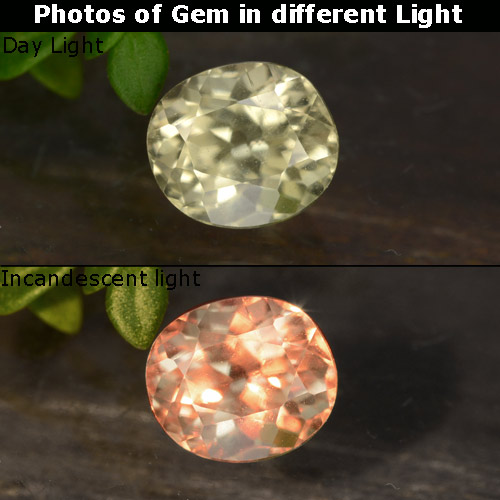 Champagne to Orange-Pink Color-Change Diaspore Gem - 0.8ct Oval Facet (ID: 478542)