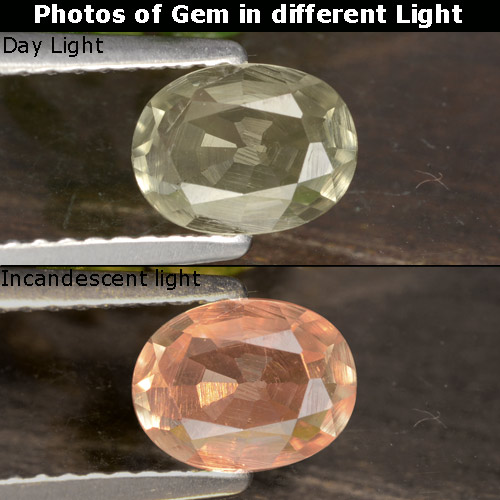 Champagne to Orange-Pink Color-Change Diaspore Gem - 0.7ct Oval Facet (ID: 478543)