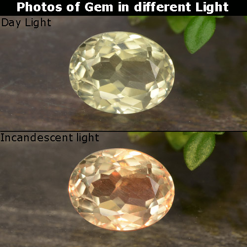 Champagne to Orange-Pink Color-Change Diaspore Gem - 0.8ct Oval Facet (ID: 478547)