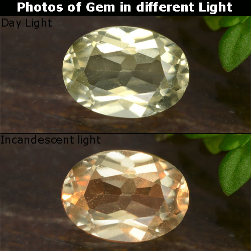 Champagne to Orange-Pink Color-Change Diaspore Gem - 0.7ct Oval Facet (ID: 478549)