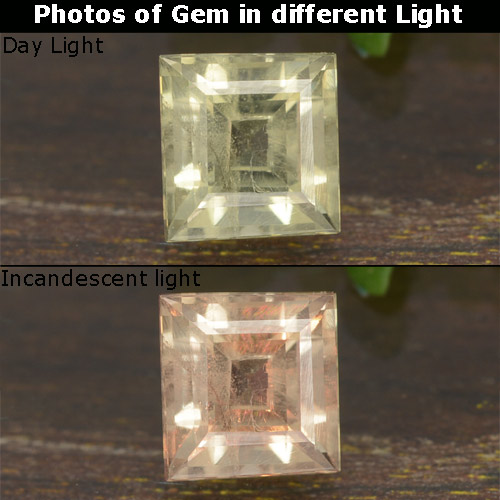 0.8ct Square Step-Cut Green to Pink Color-Change Diaspore Gem (ID: 478612)