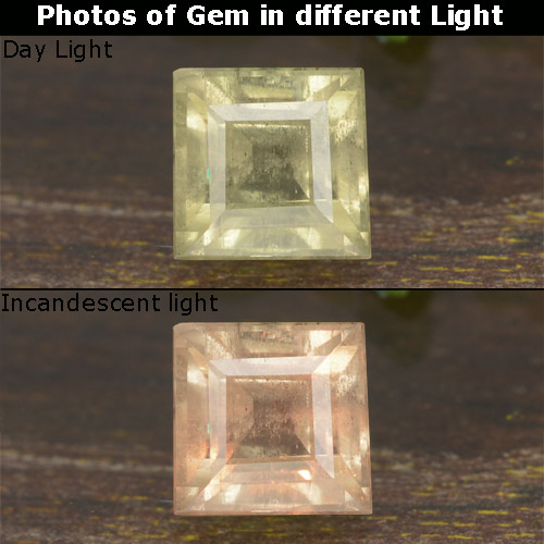 Light Yellow Color-Change Diaspore Gem - 0.8ct Square Step-Cut (ID: 478613)