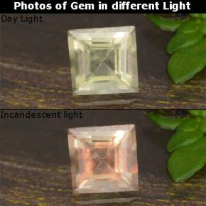 thumb image of 0.4ct Square Step-Cut Green to Pink Color-Change Diaspore (ID: 478616)