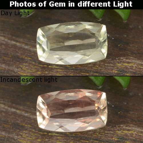 Green to Pink Color-Change Diaspore Gem - 0.7ct Cushion-Cut (ID: 478617)