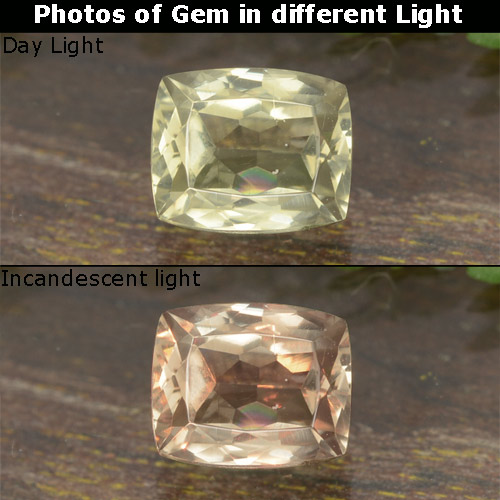 Green to Pink Color-Change Diaspore Gem - 0.8ct Cushion-Cut (ID: 478620)