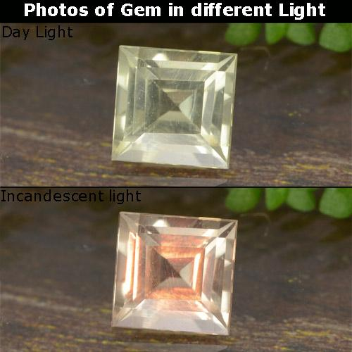 Green to Pink Color-Change Diaspore Gem - 0.6ct Square Step-Cut (ID: 478621)