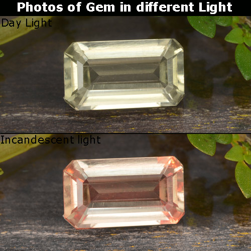 Green to Pink Color-Change Diaspore Gem - 0.9ct Octagon Step Cut (ID: 478676)