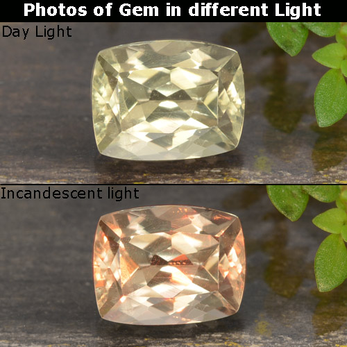 Green to Pink Color-Change Diaspore Gem - 0.9ct Cushion-Cut (ID: 478677)