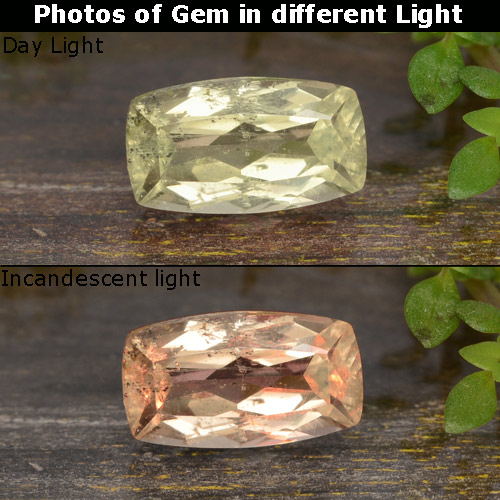 Very Pale Yellow Color-Change Diaspore Gem - 1ct Cushion-Cut (ID: 478678)