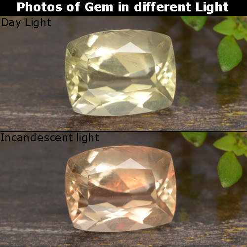 Green to Pink Color-Change Diaspore Gem - 0.9ct Cushion-Cut (ID: 478679)