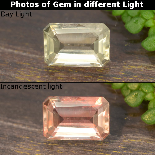 Green to Pink Color-Change Diaspore Gem - 0.7ct Octagon Step Cut (ID: 478851)