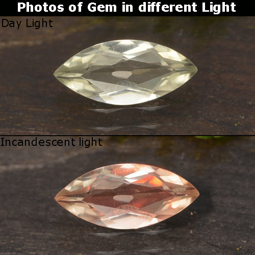 Green to Pink Color-Change Diaspore Gem - 0.6ct Marquise Facet (ID: 478854)