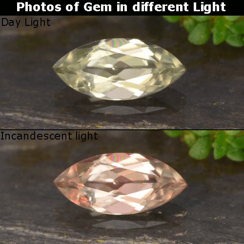 Very Pale Yellow Color-Change Diaspore Gem - 0.6ct Marquise Facet (ID: 478857)