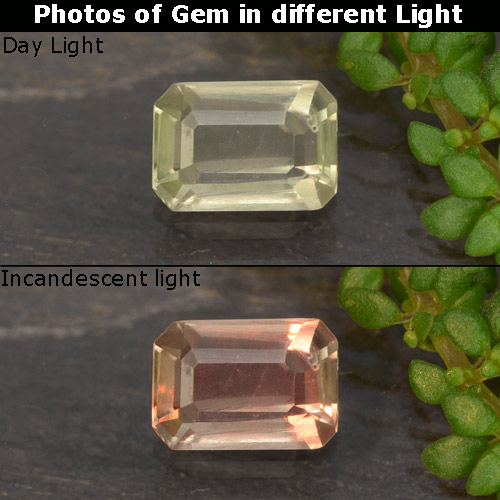 Green to Pink Color-Change Diaspore Gem - 0.5ct Octagon Step Cut (ID: 478860)