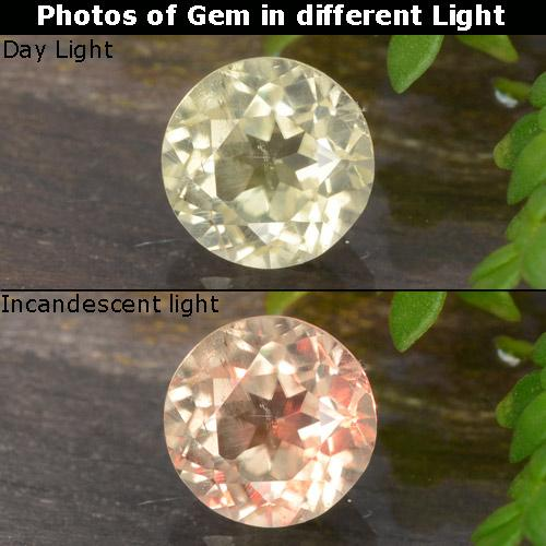 Green to Pink Color-Change Diaspore Gem - 0.8ct Round Facet (ID: 478863)